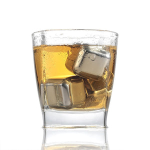 Stainless Steel 304 Whisky Stones Ice Cubes in Package, Whiskey Cooler Rocks,Ice stone islande 4/6/8 PCS With Plastic Box - Center Of Treasures