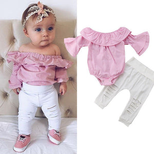 Toddler Infant Overalls Baby Girl Clothes Striped Tops Romper Ripped Pants Outfits Clothes Set roupas infantis menina - Center Of Treasures