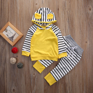 Newborn Baby Boys Girls Romper Hooded Sweatshirt Pants Striped Long Sleeve hoodie Infant kids Fall clothes - Center Of Treasures
