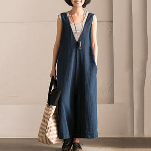 V-neck Causal Cotton Linen Oversize Overalls Wide Leg Women Vintage Sleeveless Loose Rompers Jumpsuits Pants Plus Size - Center Of Treasures