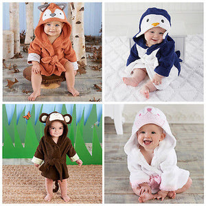 Baby Bath Towel Set Cartoon Baby Robe Infant Bath Towels Lovable Friends Animal Character Square Hooded - Center Of Treasures