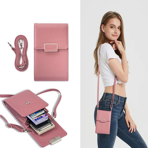 Smartphone Cross Body Case Bag Purse Wallet Credit Card Leather Phone Strap Long Chain Mini Women Shoulder Bag Card Slot Fashion Messenger Lady Girls Small Handbag Pouch - Center Of Treasures