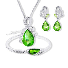 Austrian Crystal Jewelry Sets Water Drop Pendant Necklace Stud Earring Bracelet Silver Plated Jewelry Women - Center Of Treasures