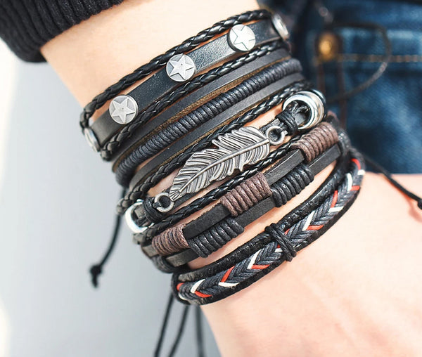 Men Bracelet Vintage Leaf Feather Multi-layer Leather Fashion Braided Handmade Star Rope Wrap Bracelets & Bangles Male Gift - Center Of Treasures