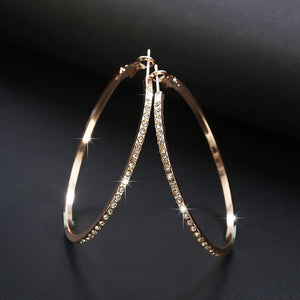 2018 Fashion Hoop Earrings With Rhinestone Circle Earrings Simple Earrings Big Circle Gold Color Loop Earrings For Women - Center Of Treasures