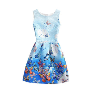 Casual Round Neck Floral Print Mini Dress Kids Summer Dresses For Girl Butterfly Floral Printed Sleeveless casual Girl Party Dress - Center Of Treasures