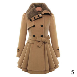 Lapel Faux Fur Casual Solid Buttoned A-line Pea Coat Winter Women Thick Plus Size Outwear - Center Of Treasures