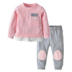 Baby Boys Girls Clothes 2Pcs Outfits Set Newborn Toddler Fashion Autumn Pocket Patchwork Design T-shirt+Pants Infant Clothing - Center Of Treasures
