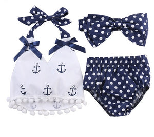 2018  Rompers Clothes Sets Anchors Bow Top+Polka Dot Briefs+Head band 3pcs Sleeveless Outfits Set Summer Fashion Baby Girls - Center Of Treasures