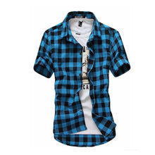 Plaid Men Shirts Summer Fashion Mens Checkered Shirts Short Sleeve Shirt Men Blouse - Center Of Treasures