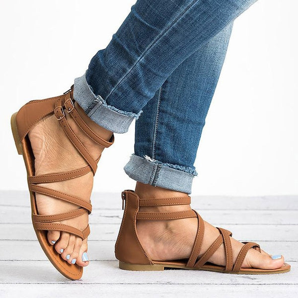 Women Sandals Rome Style Summer Shoes Woman Gladiator Sandals With Zip Flip Flop Female Flat Sandals Lady Beach Sandalias Mujer - Center Of Treasures