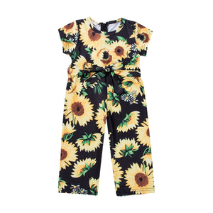 2019 Summer Toddler Kids Baby Girl Sunflower Romper Short Sleeve Belt Bow Princess Girls Jumpsuit Playsuit Sunsuit Clothes - Center Of Treasures