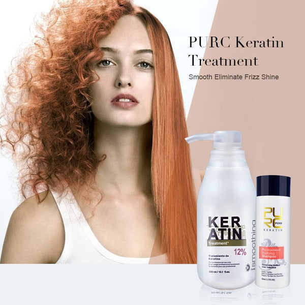 Brazilian keratin 12% formalin 300ml keratin treatment and 100ml purifying shampoo  hair straightening hair treatment set - Center Of Treasures