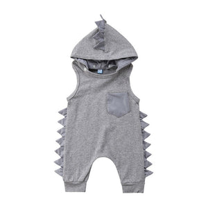 Dinosaur Hooded Detachable Baby Clothes Kid Infant Boy Girl Sleeveless Solid Baby Rompers Jumpsuit Summer Outfit New Born To 3Y - Center Of Treasures