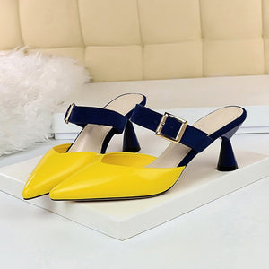 Date Pointed Toe Buckle Strap Slippers 2019 Style Summer Women 6cm Low High Heels Mules Shales Slides Female Yellow Strange Heels Slippers Sexy Fashion Green Shoes - Center Of Treasures
