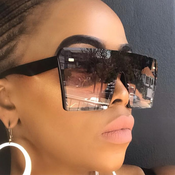 Oversized Square Sunglasses Women 2019 Luxury Brand Fashion Flat Top Red Black Clear Lens One Piece Men Gafas Shade Mirror UV400 - Center Of Treasures