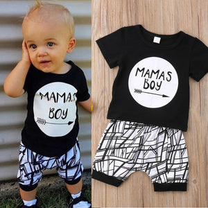 0-24M New Born Baby Clothes 2pcs Set Black Letter Print Tshirt For Boys White Stripe Pants Legging Baby Boys Clothes Newborn Set - Center Of Treasures