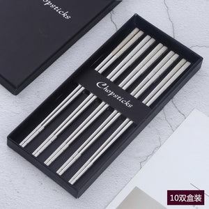 5Pairs Sushi Japanese Stainless Steel Acciaio Chopsticks Set With Gift Box Black Chinese Chop Stick Tableware Kitchen Tools - Center Of Treasures