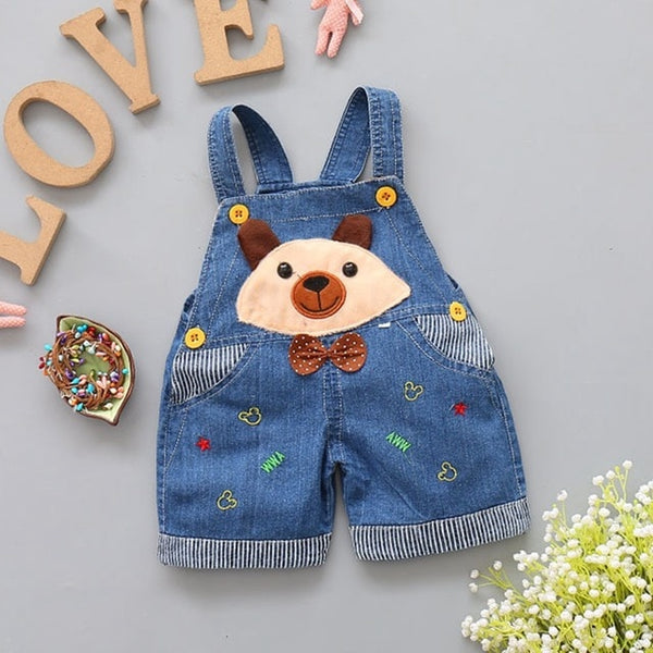 1 2 3 4T Baby Clothing Boys Girls Jeans Overalls Shorts Toddler Kids Denim Rompers Cute Cartoon Bebe Pants Summer Bib Clothes - Center Of Treasures