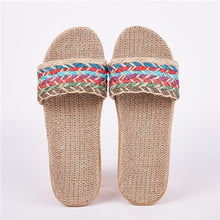 Women Flax Slippers Sandals Summer Comfortable Non-slip Ladies Home Flip Flop Cross-tied Casual Indoor Shoes Multicolor - Center Of Treasures