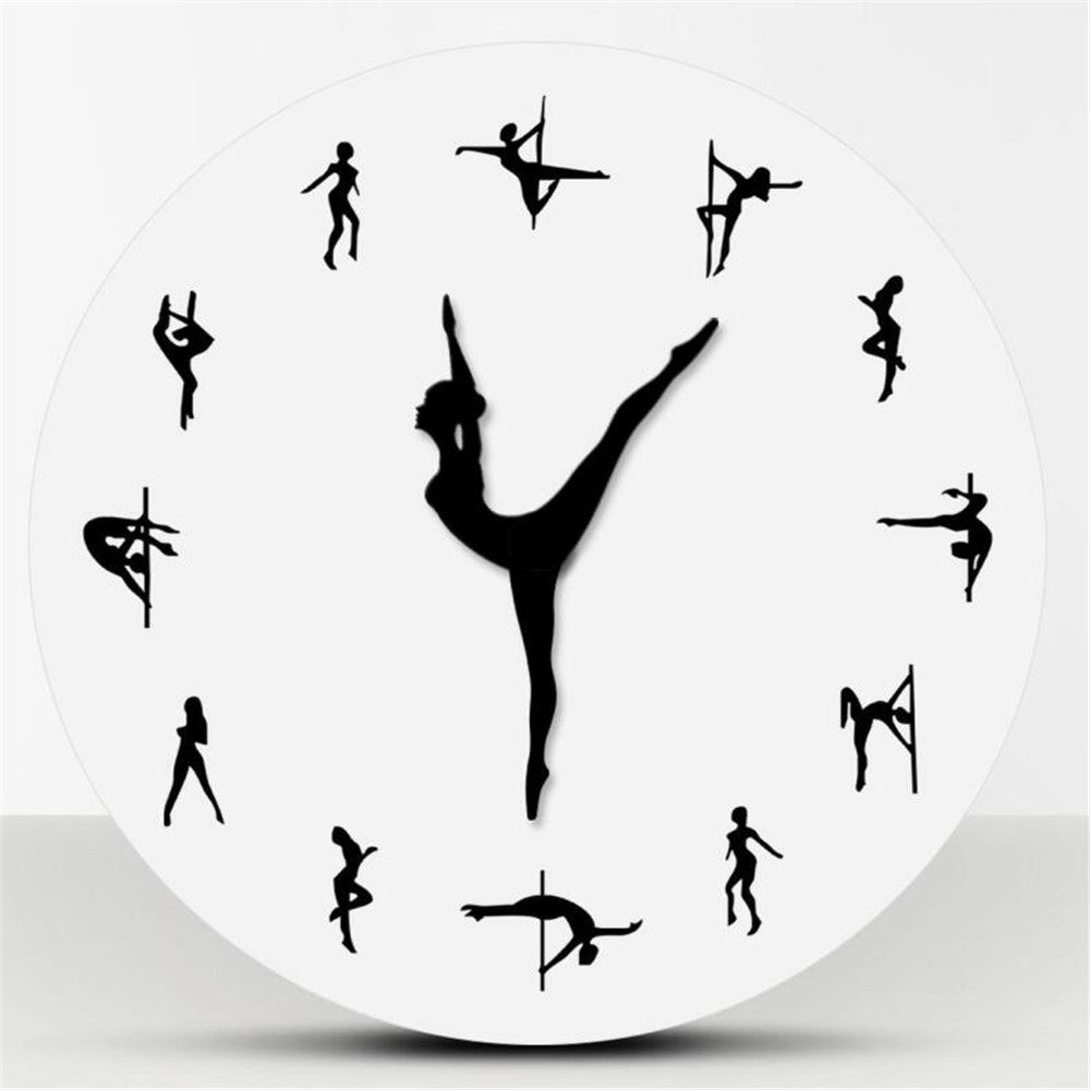 Ballet Clock Pole Dancers Minimalist Design Modern Wall Clock Night Club Wall Decor Sexy Chick Dancing Strippers Decorative Clock Watch Gift - Center Of Treasures