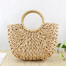 Women Bag Korean Foreign of Corn Skin The Semicircle Art Beach Bag Travel Pictures Props Straw Bag Moon Bag New - Center Of Treasures