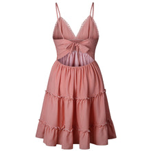 Spaghetti Strap V Neck Dress Ball Gowns Solid Layered Ruffles High Waist Back String Summer Dress - Center Of Treasures