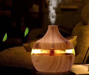 Electric Humidifier Aroma Oil Diffuser Ultrasonic Wood Grain Air Humidifier USB Mini Mist Maker LED Light For Home Office - Center Of Treasures