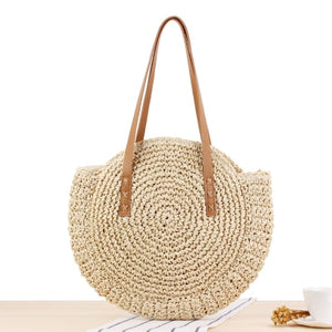 Women Shoulder Bags Circle Straw Handbags Casual Rattan Big Capacity Handmae Summer Totes Lady Round Bohemian Beach Treval Sac - Center Of Treasures