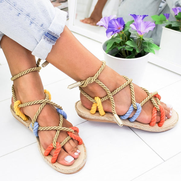 Women Sandals Summer Shoes Flat Sandals Hemp Rope Lace Up Gladiator Non-slip - Center Of Treasures