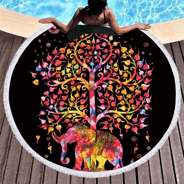 Bohemian Elephant Round Beach Towel Boho Indian Tassel Tapestry Bath Shower Towels Floral Yoga Mat Lotus Mandala Flower Toalla Blanket - Center Of Treasures