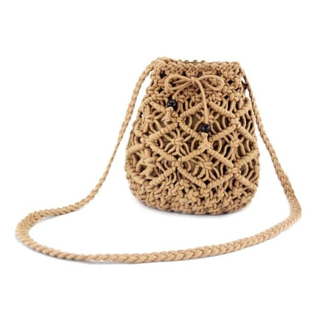 Shoulder Drawstring Bucket Handbags Crossbody Beach Bags Sweet Woven Square Women Bohemia Purely Hand-made Casual Drawstring - Center Of Treasures