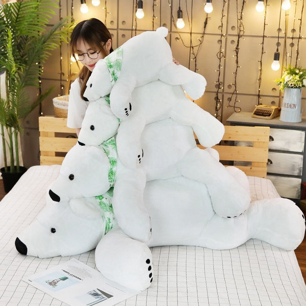 Baby Pillow Big Polar Bear Stuffed Plush Animals Newborn Plush Baby Soft Toy Kids Toys For Children's Room Decoration Cute Long Christmas Gift Doll - Center Of Treasures
