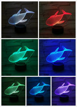 Whale Night Lamp 3D Illusion 7 Color Changing Decorative Light Child Kids Girl Gift Animals Fish Desk LED Night Light Bedside - Center Of Treasures
