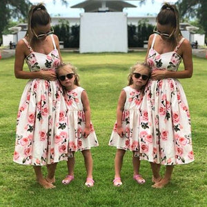 Family Matching Mother And Daughter Clothes Sleeveless Floral Dress For Mommy Me Kids Girls baby Mom Daughter Dress - Center Of Treasures