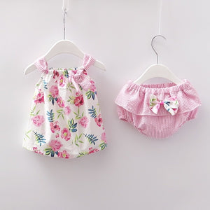 Newborn Baby Girls Clothes Sleeveless Dress+Briefs 2PCS Outfits Set Striped Printed Cute Clothing Sets Summer Sunsuit 0-24M - Center Of Treasures