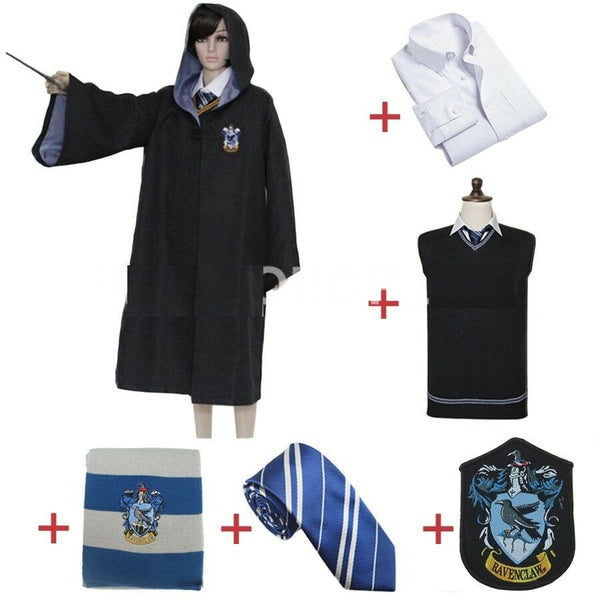 Ravenclaw Luna Lovegood Cosplay Robe Women Wizard Costume Halloween Party Outfit Cloak Shirt Scarf Tie Sweater Uniform for Harris Costume - Center Of Treasures