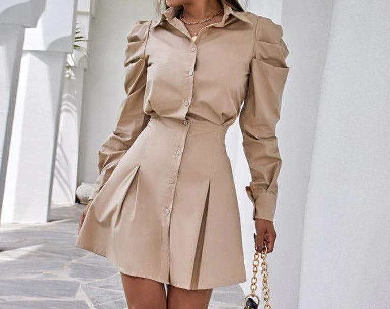 Dress Shirt Casual Long Puff Sleeve Khaki Button A Line Mini Waist Women Dresses