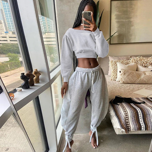 Women Sports Outfits 2 Piece High Waist Streetwear Loose Casual Sporty Matching Tracksuits Joggings Sweatpants