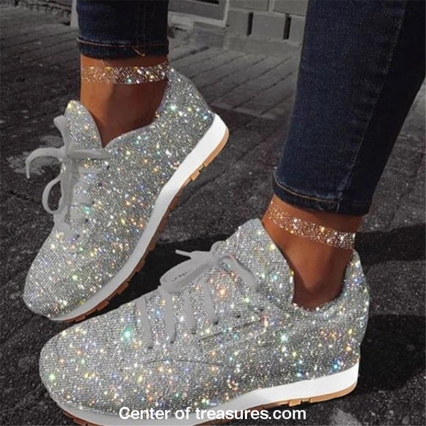 Women Sparkle Sneakers Flats Shoes Shiny Casual Fashion Pink Aesthetic Sport Running Shoes Girl's Thick Lace up Soft Slip On - Center Of Treasures