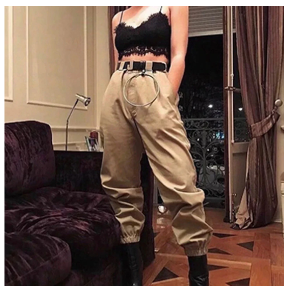 Women's Cargo Pants Baggy Fashion Girl Design Street Style Streetwear High Waist Solid Metal Chain Sling Harajuku Trousers Long Jogger Black White Khaki Yellow Green - Center Of Treasures