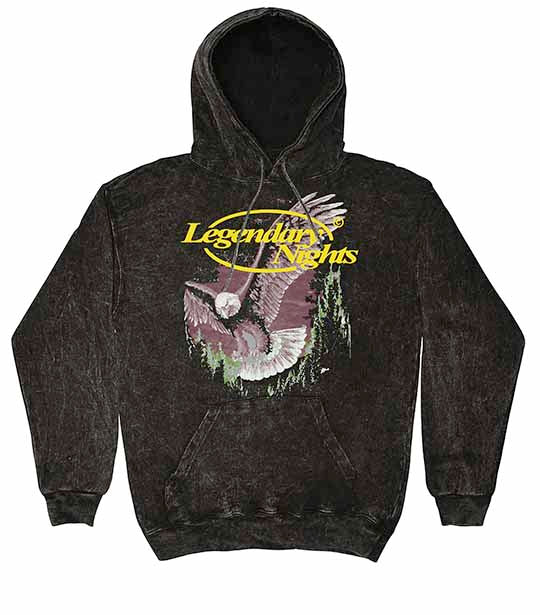 Legendary Nights Eagle Washed Hoodie-Black