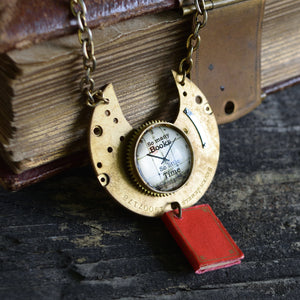 Brass plate and book necklace, So Many Books