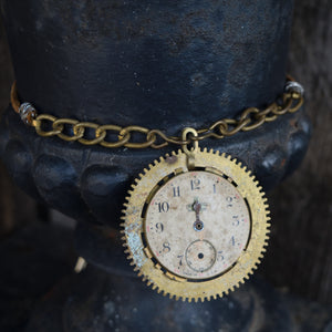 Antique brass gear and watch face choker