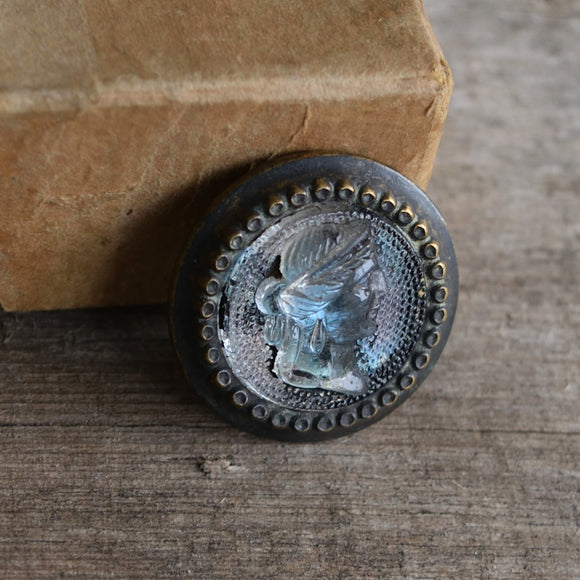 Victorian glass and brass cameo button