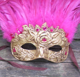 "Pink and gold feathered Venetian style mask. ""Blushed"""