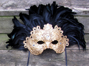 "Gold and black Ornate gilded Ventian mask ""Imperatrice"""