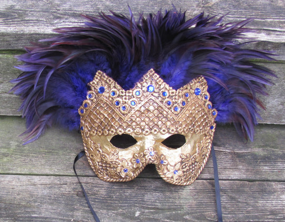 Gold and purple feathered Ventian mask