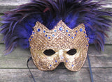 "Gold and purple feathered Ventian mask ""Purple Reign"""