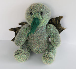 Green Cthulhu altered bear toy